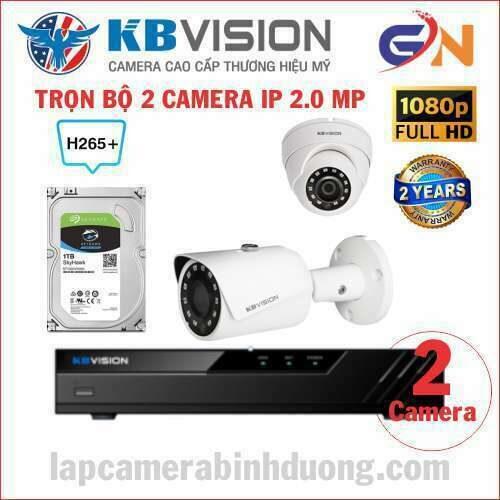 trọn bộ 2 camera IP KBVISION